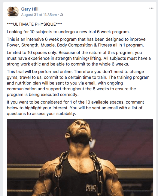 Facebook post for online personal training