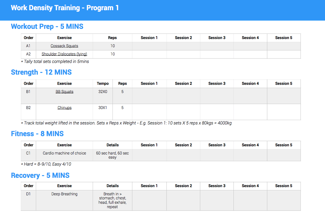 Workout program from Trainer pulse