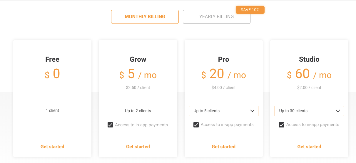 pricing table for trainerize software for personal trainers
