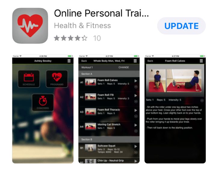 display of app in the pt distinction personal trainer software for personal trainers
