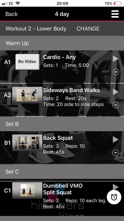 Example workout program in pt distinction online personal trainer software