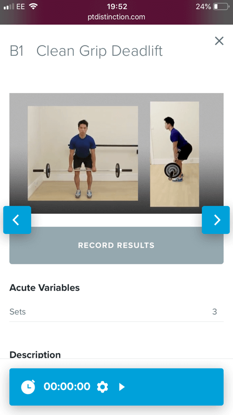 Example exercise from pt distinction software for online personal trainers